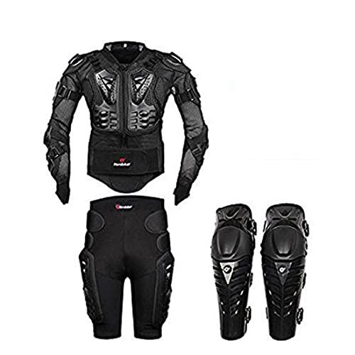 FULUOYIN Giacca protettiva per moto, con cambio di marcia, pantaloni corti e ginocchiere, taglie S-5XL, nero, XL
