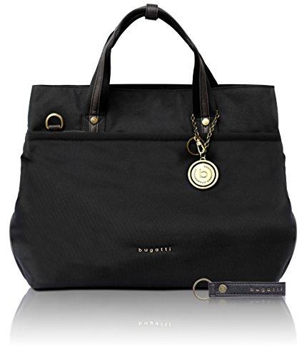 Bugatti Contratempo Shopper Handtasche Damen, Nylon Tasche mit RFID Fach, Große Damenhandtasche Schultertasche, Schwarz