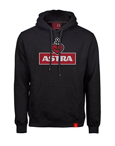 ASTRA Hoodie Herzanker Unisex Größe L, Sweater in Schwarz, sportlicher Kapuzen-Pullover mit Logo-Print auf Brust & Kapuze, Pulli für Männer & Frauen