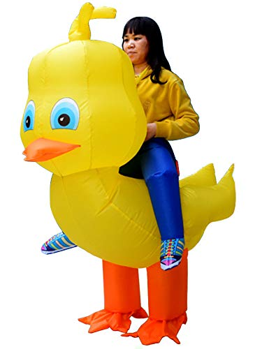 rushopn Ride on Duck Inflatable Costume Yellow Duck Air Blow up Jumpsuit for Big Head Adult