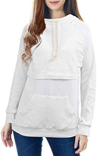 Smallshow Damen Mutterschaft Pflege Stillen Sweatshirt Langarmshirt Hoodie Stillpullover Kapuzenpullover Top Taschen White L