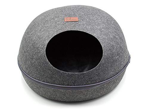 Luxflair stabile Katzenhöhle oval, weicher Filz in edlem dunkelgrau, natürlich waschbar, moderner Cube, Kuschelhöhle für Katzen und kleine Hunde