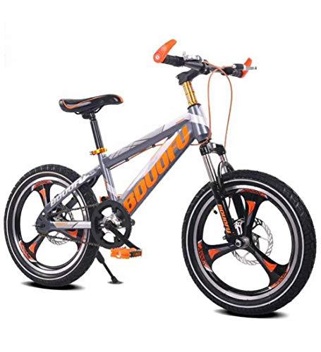 SJSF Y Bici per Bambini Mountain Bike Bici da Corsa da 6-15 Anni 16 18 20 ''Freno A Disco Raytheon Bicicletta per Bambini con Doppio Disco Freno per Ragazzo E Ragazza (Grigio-Arancio),16inch