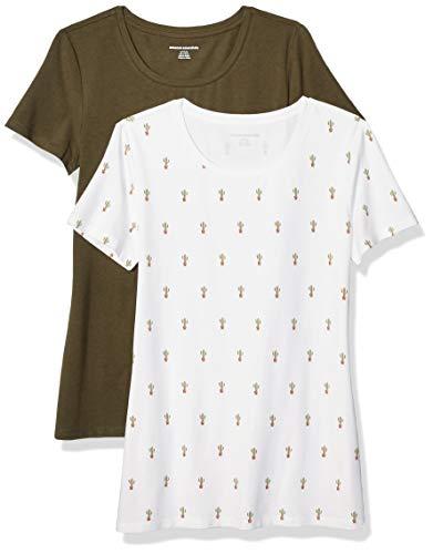 Amazon Essentials Women's 2-Pack Classic-Fit Short-Sleeve Crewneck T-Shirt, Cactus Print/Olive, XXL