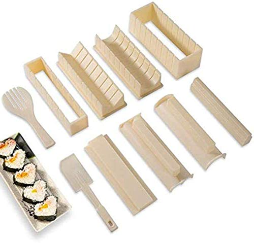 DIY Sushi Making Kit with Complete Sushi Set 10 Pieces Plastic Sushi Maker Tool Complete with 8 Sushi Rice Roll Mould Shapes Fork Spatula