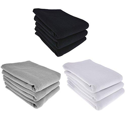Daloual 9X theedoek/keukendoek poetsdoek 100% katoen 3X zwart 3X grijs 3X wit