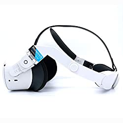 【Latest Adapter】Design for Quest 2, Quick install without D.I.Y spacer. The new adapter tighten fit with Quest 2 well. 【Latest Version】2021 ergonomic Designed head strap for Oculus Quest, No squeeze on face and nose, 50: 50 Balance weight between Ocu...