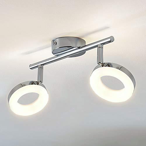 Lampenwelt LED Deckenlampe 'Ringo' (Modern) in Chrom aus Metall u.a. für Wohnzimmer & Esszimmer (2 flammig, A+, inkl. Leuchtmittel) - Deckenleuchte, Wandleuchte, Strahler, Spot, Lampe, Wohnzimmerlampe
