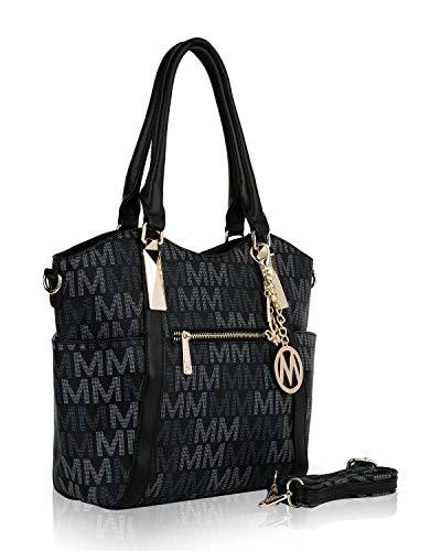 Mia K. Collection Crossbody Shoulder Handbag for Women Removable Shoulder Strap Vegan Leather Top-Handle Satchel-Tote Bag Black