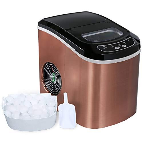 ADT Ice Maker 26 lb/24H Portable Ice Maker Copper Ice Cube Maker (Bronze)