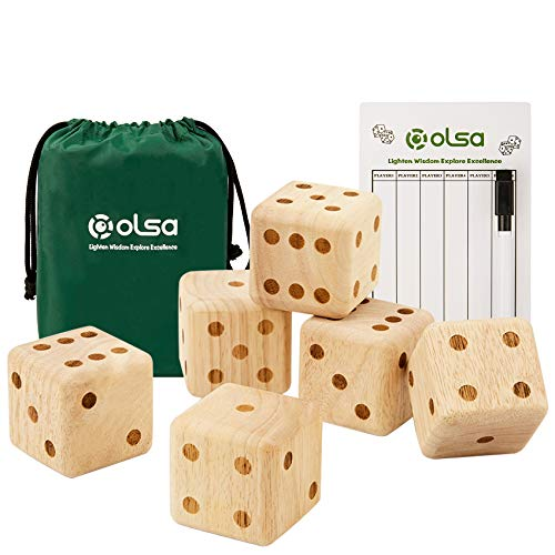 OLSA Giant Dice Game Set, 2.5'' Wooden Dice Set with Scoreboard   Dry Erase Marker   Carry Bag, Outdoor Lawn Game for All Ages