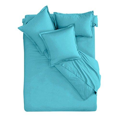 I Fil Home Parure de lit 100% Coton 57 Fils Bleu 260 x 240 cm