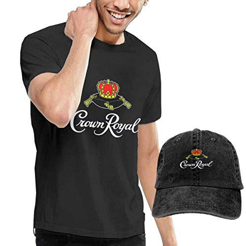 sunminey Herren Kurzarmshirt Cro-Wn Ro-Yal Short Sleeve Top Tee Shirt for Men and Hat Cowboy Hat Combo Short-Sleeve Jersey