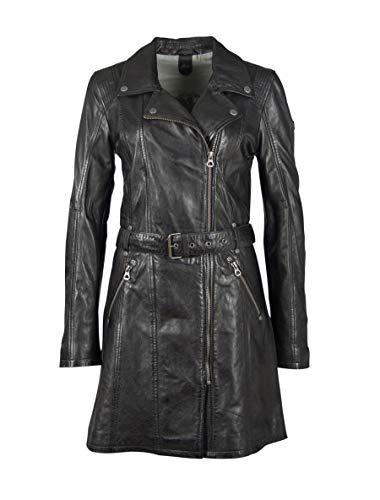 Gipsy Damen Kurzmantel Ledermantel lange Lederjacke mit Umlege Kragen und mit Ledergürtel - GGDenna LEGV (XS, Schwarz)