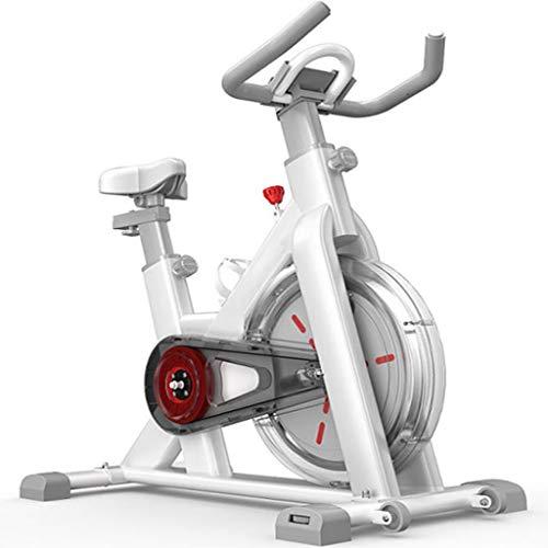 YHRJ Bicicletas estáticas Interior controlada magnéticamente,Bici de Spinning silenciosa,Bicicleta de Pedales Ajustable con portavasos,Puede soportar 120 kg (Color : Blanco, Size : 106 * 56 * 114cm)