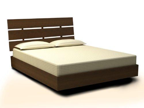 Nexera Nocce Platform Bed with Headboard, Queen, Truffle (Kitchen)