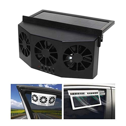 YUNB Negro 2W ABS Solar Powered 3 Fan Ventilador Escape