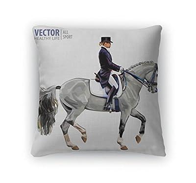 Gear New Throw Pillow Accent Decor, Equestrian Sport Horsewoman Jockey In Uniform Riding Horse Outdoors Dressage, 6601555GN
