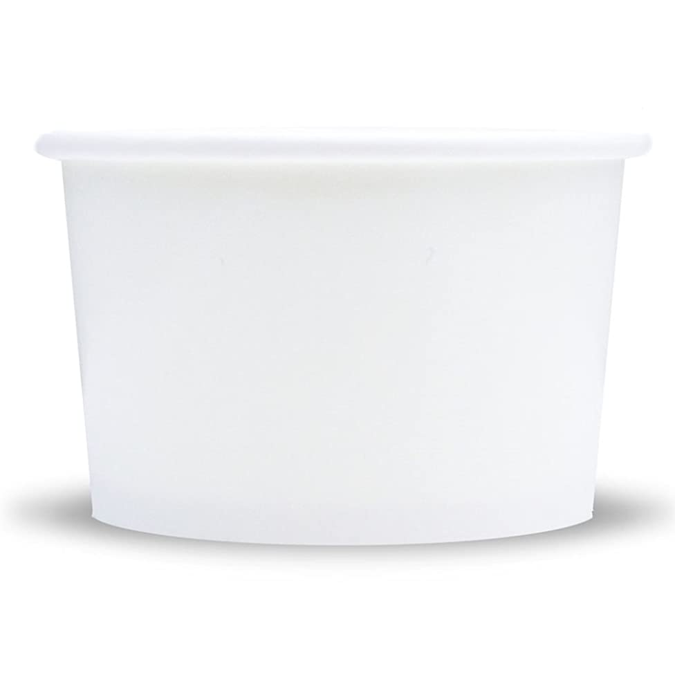 White Paper Ice Cream Cups - 4 oz Small Dessert Bowls - Comes In Many Colors & Sizes! Frozen Dessert Supplies - Fast Shipping! 50 Count