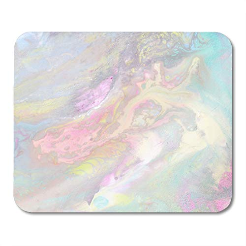 Emvency Mouse Pads Iridescent Color Transitions Pale Blue Green Yellow Pink and Purple Streaks Light Petrol Stain Mousepad 9.5' x 7.9' for Laptop,Desktop Computers Office Supplies Mouse Mats