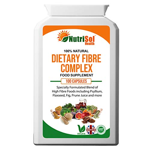 NutriSol Health Dietary Fibre Complex 100 Capsules | Soluble and Insoluble Fibre Blend Including Psyllium, Flaxseed, Fig, Prune Juice | 100% Natural GMP Quality Food Supplement Made in The UK