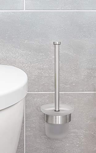 Jan Max Toilettenbürste Wandmontage mit Klobürstenhalter ohne Bohren, WC Bürste aus Edelstahl mit Ersatzbürste und Glashalterung