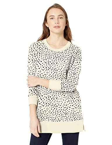 Daily Ritual Tunika aus Frottee und Modal Tunic-Shirts, Cremefarben/schwarzer Dalmatiner-Druck, US S (EU S - M)