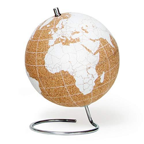 SUCK UK Blanco Globo Terráqueo Pequeño | Bola del Mundo De Corcho Diseño Decoración del Hogar, Madera, Small