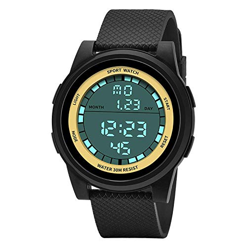 AYDQC Versión Coreana Impermeable Reloj electrónico Masculino Estudiantes al Aire Libre de múltiples Funciones del Reloj de los Deportes de Moda de dial fengong (Color : Black Gold)
