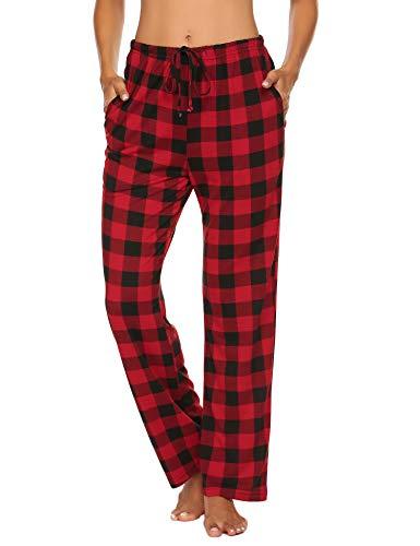Doneto Damen Schlafanzughose Pyjama Hose Lang Soft Flanell Plaid Schlaf Bottoms mit elastischer Taille (Rot Größe:L)