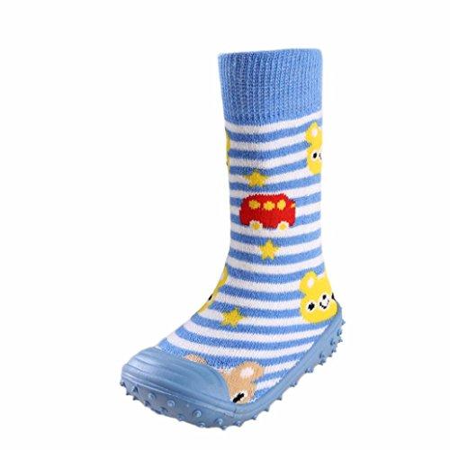 JERFER Boden Socken rutschfeste Gummisohlen Schuhe-Premium Weich Leder Babyschuhe Jungen und Mädchen Babyschuhe - Neugeborene bis 1-3.5Jahre (22, Blau)