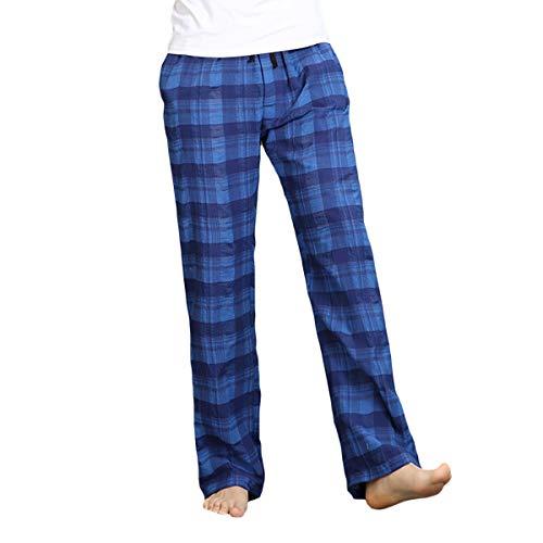 Allthemen Schlafanzughose Herren Gestreift Kariert Hose Lang Pyjamahose Baumwolle Freizeithose Nachtwäsche