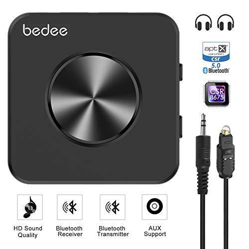 Bluetooth 5.0 Transmitter Audio Adapter bedee Bluetooth Audio Receiver Empfänger 2 in 1 für HiFi Audio Stereo TV Laptop Auto Zuhause Bluetooth Receiver mit digitales optisches, aptX HD aptX LL Tech