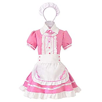 Wraith of East Adult Maid Costume Cute Girl Lolita Cosplay Outfit Halloween Costumes Women Fancy Dress Apron with Headwear  L Pink