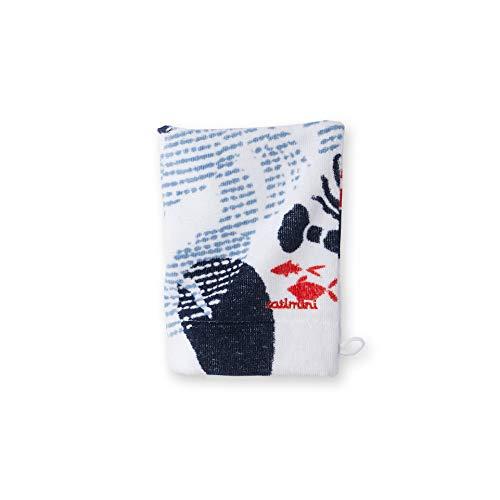 Catimini Gant de Toilette Créative Côtier, Blanc et Bleu, 15x21 cm