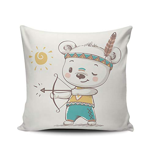 RGEMK Home Decoration Pillowcase Cushion Cover Cartoon Child Cute Bear Bow and Arrow Feather Throw Pillow Case Chic Design Double Sided Printed Square Size 18 x 18 Inch