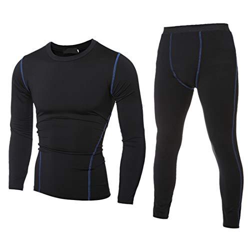Men's Sportswear Men Light Sportswear Casual Elastic Fabric Slim Fit Gym Sportswear Men Yoga Wear New Round Neck Long Sleeve Fashion Men Sportswear Fashion Men's Clothing B-Black XL