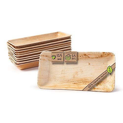BIOZOYG Palmware - Set Cuencos Snacks I 25 Piezas orgánicas Desechables Rectangulares 125ml, 16x8cm I Party vajilla compostable, Biodegradable I Hojas Palma vajilla desechable para Fingerfood y mas