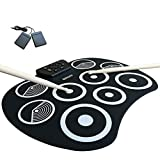 Electronic drum Digital Kit Set Portable USB 7 Silicon Drum,with Headphone Jack Built-in Speaker Drum Pedals Drum Sticks 10 Hours Playtime, for Kids Beginners