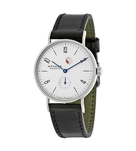 Nomos Tangente Gangreserve Reloj de hombre con esfera blanca de cuero negro 172