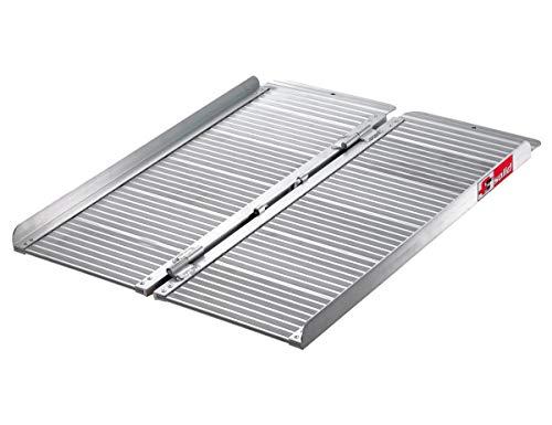 FTsolid 0,9m mobile Rollstuhlrampe aus Aluminium klappbar 90cm Länge x 70cm Breite, für Rollstuhl oder Rollator, Auffahrrampe für Treppen, Rampe