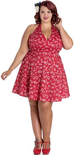 Hell Bunny Damen Kleid Marin Neckholder (4XL, Rot mit Motiven Plus Size)