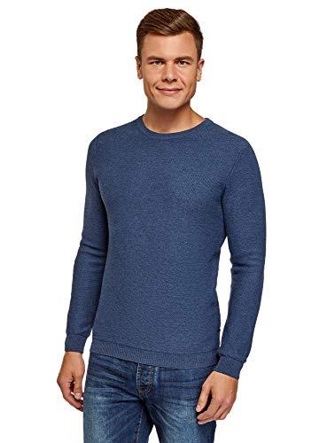 oodji Ultra Herren Baumwoll-Pullover mit Rundhalsausschnitt, Blau, DE 52-54 / L