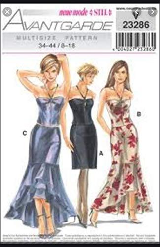 Neue Mode *Stil* Avantgarde Schnittmuster V 23286 - Abendkleid, Cockteilkleid 2 TLG - Gr. 34-44