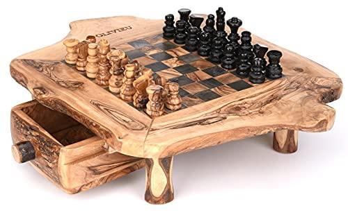 OLIVIEU ~ INTELLIGENTE ~ 33 cm ~ Scacchi in legno di alta qualità con cassetto ~ Scacchiera in legno d'ulivo realizzato a mano ~ con scacchi ~ Scacchi in legno ~ Giochi Adulti ~ Chess Board Olive Wood