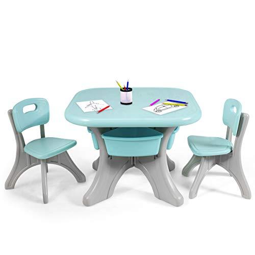 COSTWAY Sitzgruppe Kinder, 3tlg. Kindersitzgruppe, Kindertisch mit 2 Kinderstühlen, Kindertischgruppe PE, mit Aufbewahrungsboxen (Grün)