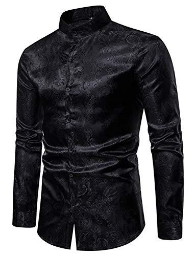 WHATLEES Herren Design asymmetrisches Satin-Hemd mit Stehkragen und Paisley Muster, 02010200xblack, L