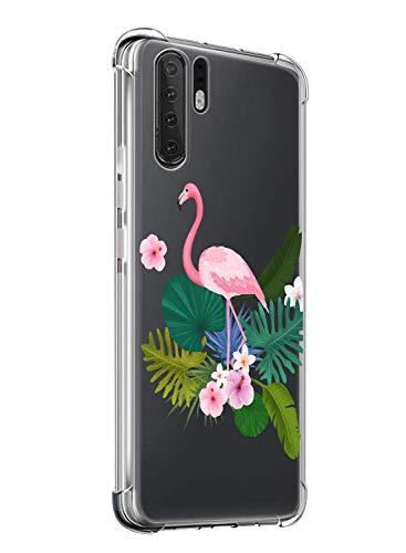 Suhctup Funda Compatible con Huawei Mate 10 Antigolpes,Carcasa Bumper Transparente [Protección Esquina] Silicona TPU Gel Ultra-Delgado Moda Dibujo Anti-Choque Estuche Case,Flamenco