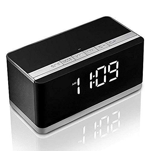 FPRW Bluetooth Speaker Alarm Klok, met Verbeterde Bass, Handsfree bellen Fm Radio Klokken, met Usb Host Tf Card Slot, Wit Licht