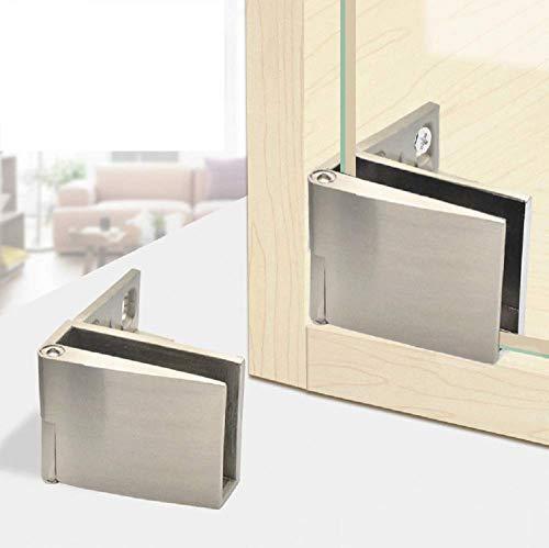 1 par / armario de exhibición de bisagra de puerta de vidrio sin marco armario empotrado armario de exhibición instalación lateral bisagra de puerta de vidrio níquel cepillado